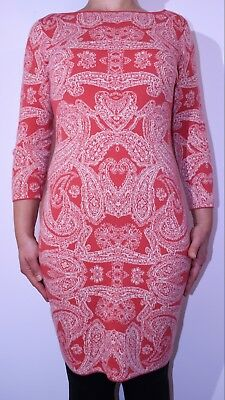 £9.99 • Buy Monsoon Jumper Dress Pink Coral Stretch Bodycon Autumn Winter Size 10 AY