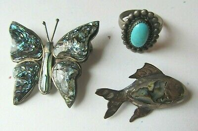 $ CDN24.20 • Buy LOT 3 Vintage TAXCO MEXICO Sterling Silver JEWELRY Turquoise RING Butterfly Fish