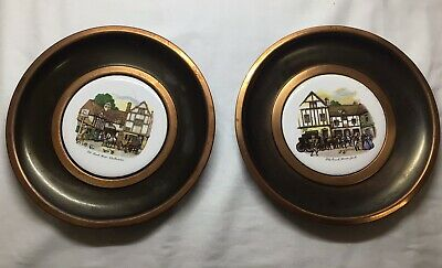 £5 • Buy 40's Vintage Bone China & Brass Plates Old Coach House York & Woolhampton