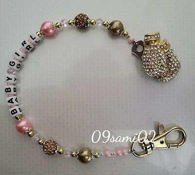 £7.75 • Buy Personalised Boys ❤ Bling Dummy Clip, Gold Pearl & Crystal ❤ Romany Boxing Glove