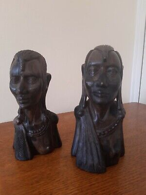 £20 • Buy 2 X Vintage African Wooden Carved Head Busts
