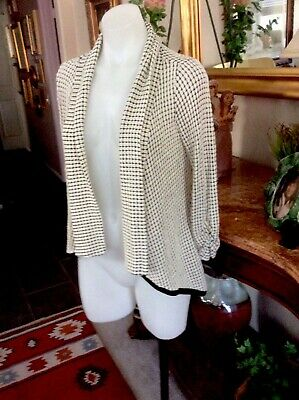 $ CDN30.25 • Buy Anthropologie Maeve Open Front Cardigan  Black Ivory Ruched Sleeves, Small,NWT