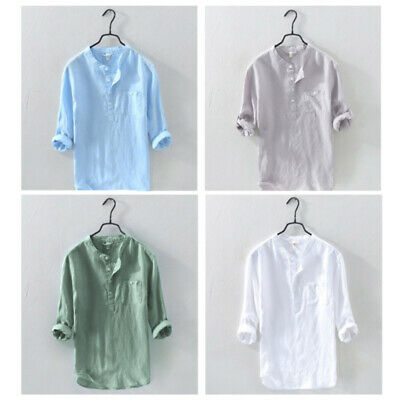 $18.99 • Buy Mens Casual Long Sleeve Cotton Linen Blouse Loose Henley V-Neck Tops T Shirts US