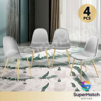 AU149.59 • Buy 4x Dining Chairs Kitchen Chair Soft Fabric Velvet Seat Cafe Modern Metal Leg GY
