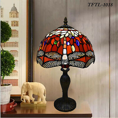 £64.59 • Buy RED Dragonfly Tiffany Style Hand Crafted Glass Table/Desk/Bedside Lamps UK Plug
