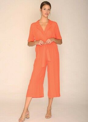 AU57.23 • Buy ANTHROPOLOGIE PEPALOVES Wide Leg Jumpsuit BLANCHE PLAYSUIT - CORAL - Small