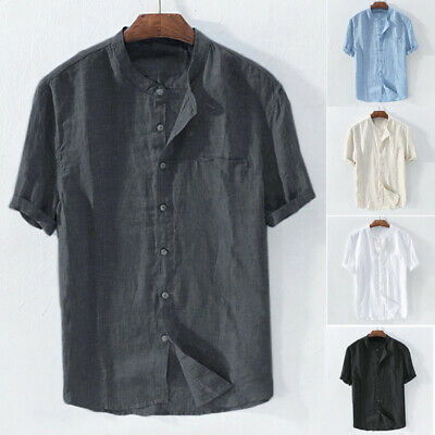 $16.99 • Buy Men Solid Short Sleeve Cotten Collarless Soft Shirts Casual Loose Holiday Top