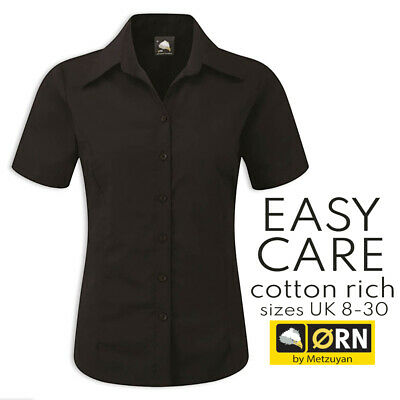 £5.99 • Buy Womens Black Cotton Rich Shirt Semi Fitted Formal Office Workwear Plus Size 8-30