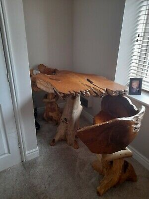 £400 • Buy Indonesian Wood  Table With 2 Swivel Chairs