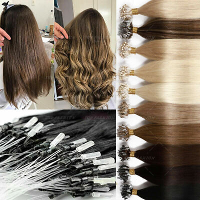 £25.33 • Buy Loop Micro Ring Beads Link Russian Remy Human Hair Extensions Balayage 100s-200s