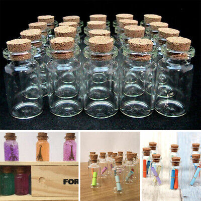 £8.99 • Buy 50Pcs Clear Glass Bottles With Cork Stoppers Mini Small Jars Vials Message Jars