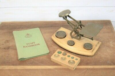 £58 • Buy Retro English Brass & Wood Post Office Letter Scales & Weights + 1958 Handbook