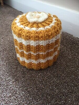 £4.50 • Buy Hand Knitted Toilet Roll Cover In Mustard And Cream
