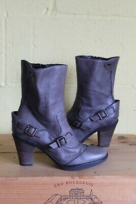 £16 • Buy Grey Soft Leather Ankle Steampunk Victorian Style Boots Size 6 / 39 By Oasis