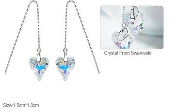 £4.99 • Buy Sterling Silver&Crystal ❤ AB Pull Through Earrings Made With Swarovski Elements