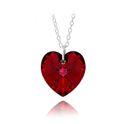 £2.99 • Buy  UK STOCK 925 Sterling Silver Heart Crystal RED Necklace Pendant GREAT GIFT
