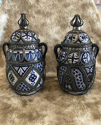 £139 • Buy Pair Early 20th Moroccan Blue And White Ceramic Vases Laid With Silver Nickel