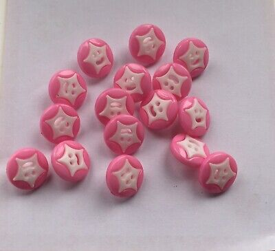 £3 • Buy 16 Pink + White Smiley Star Faces Baby/ Children's Cardigan Buttons 14 Mm Shank