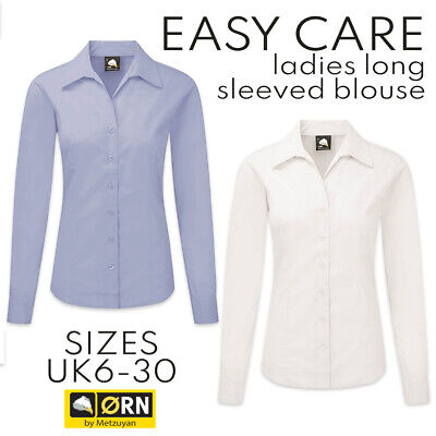 £6.99 • Buy Ladies Womens Plain Long Sleeve Oxford Shirt Blouse Work Office Fitted Tailored