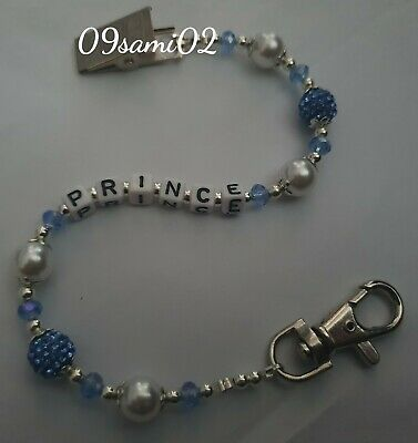 £5.25 • Buy Personalised Boys ❤ Blue Bling Dummy Clip With Pearl & Crystal ❤ Romany ❤