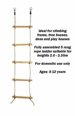 £12.99 • Buy Kids Wooden Rope Ladder Climbing Rope For Timber Climbing Frame