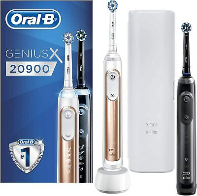 AU375.09 • Buy Oral-B Genius X 20900 Twin Pack Electric Rechargeable Toothbrush Black Rose Gold