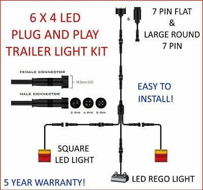 AU74.99 • Buy 6x4 TRAILER LED WIRE KIT EASY TO INSTALL PLUG AND PLAY WIRING SQUARE DIY &