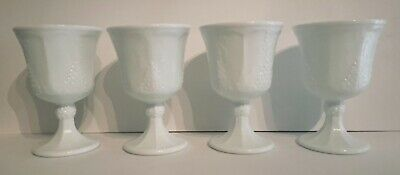 $15.99 • Buy Set Of 4 Vintage Indiana Milk Glass Grape Pattern Footed Goblet Cup Glass
