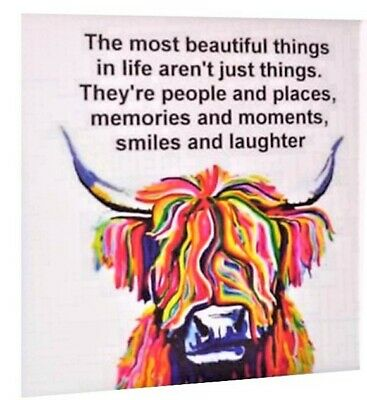 £6.95 • Buy Family Quote Highland Cow Colourful Wall Art Printed Framed Canvas #4