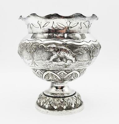 £325 • Buy Fine INDIAN SOLID SILVER LARGE BOWL C1890 HUNTING SCENES