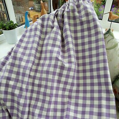 £21 • Buy Lilac Gingham Check Quality Heavy Fully Lined Curtains L55 X W79 Inches