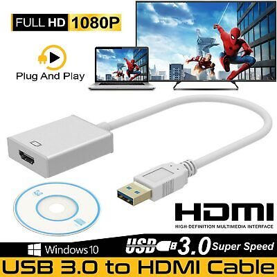 £8.99 • Buy USB 3.0/2.0 To HDMI 1080P Audio Video Adaptor Converter Cable For PC Laptop HDTV