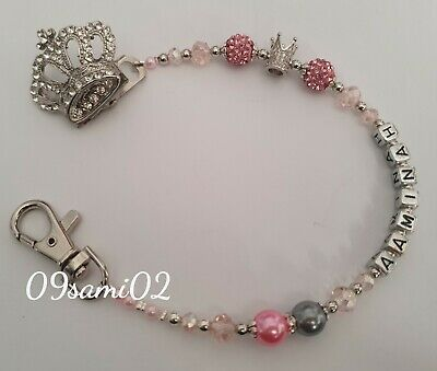 £7.50 • Buy ❤ Bling Personalised Dummy Clip Shamballa & Crystal Diamante Crown Romany ❤pink