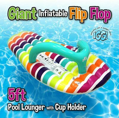 £12.99 • Buy LARGE INFLATABLE FLIP FLOP Giant Swimming Pool Sun Beach Lilo Lounger Air Bed UK