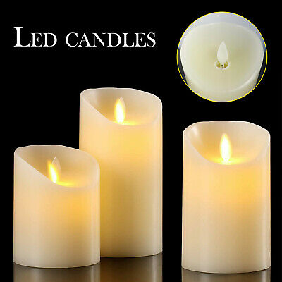 £11.46 • Buy Set Of 3 LED Flameless Pillar Candles Flickering Battery Operated With Remote
