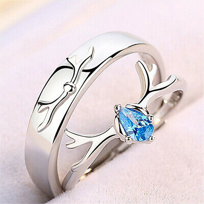 £3.32 • Buy 925 Sterling Silver Couple Rings Adjustable Matching Rings Valentine's Day Gift