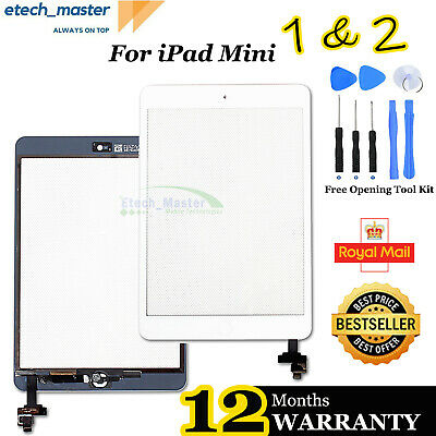 £9.65 • Buy For IPad Mini 1/2 White Touch Glass Digitizer Screen Replacement +IC Home Button