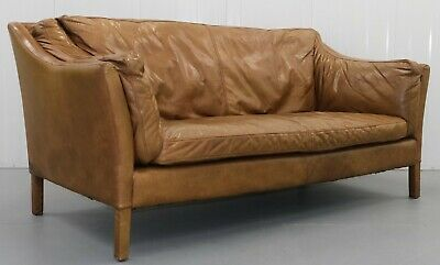 £1250 • Buy Lovely Halo Reggio Conker Leather Light Brown Two Seater Sofa Rrp£2090