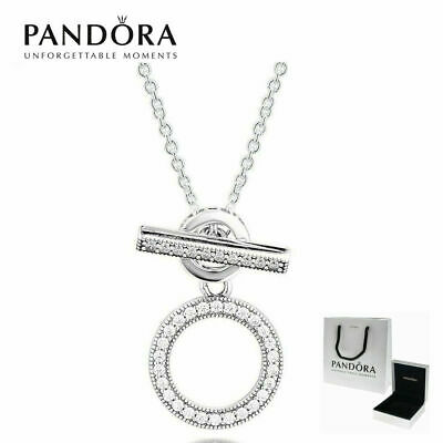 AU20.99 • Buy Genuine Pandora Pave Double Hoop T-Bar Necklace 925 Sterling Silver & Gift Box