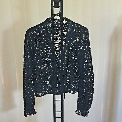 AU90 • Buy Scanlan Theodore Label Black Long Sleeve Lace V Neck Top Size 8