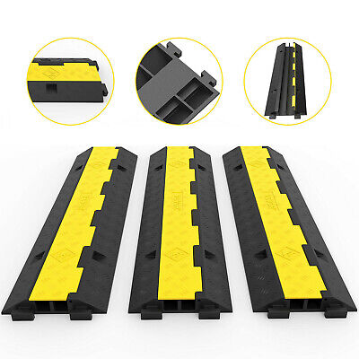 £53.32 • Buy 3PCs Of 2-Channel Rubber Cable Protectors Ramp Speed Bump Guard Wire Road Cover