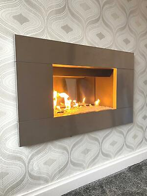 £495 • Buy Gas Fire Silver Inset Full Depth Wall Inset Mounted Brushed Steel Glass Fuel Bed