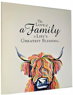 £6.95 • Buy Highland Cow Colourful Animal Wall Art Printed Canvas Framed With Family Quote 5