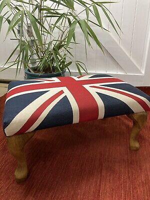 £125 • Buy Hand Crafted Union Jack Heavy Fabric Footstool/Ottoman - Queen Anne Wooden Legs