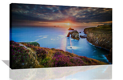 £11.99 • Buy Sunset In Cornwall Landscape View Canvas Wall Art Picture Print