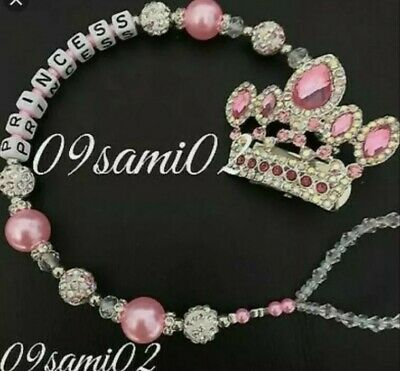 £8.75 • Buy Personalised Princess ❤ Bling Dummy Clip,Pearl & Crystal Romany Crown