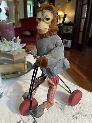 £108.91 • Buy Vintage Monkey On Bike Steiff?? Plush Tricycle Early Toy Pull Toy Wood Wheels