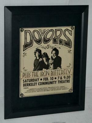 $69.99 • Buy The Doors 1967 Berkeley Community Theater 2 Shows Concert Framed Promo Ad