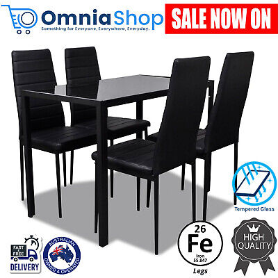 AU245.97 • Buy 5 Pcs Modern Dining Table And Chairs Set Glass Top 4 Seater Faux Leather SeatNEW