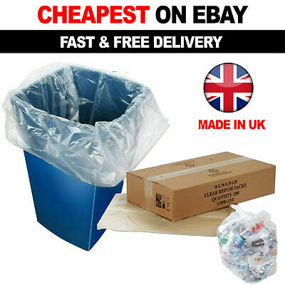 £7.94 • Buy 100 X Clear Refuse Sacks 140G Large Bin Liners Rubbish Waste Recycling Bags 90L